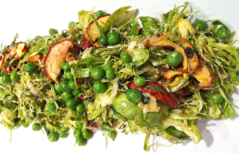 Raw Brussels sprouts slaw with prune dressing