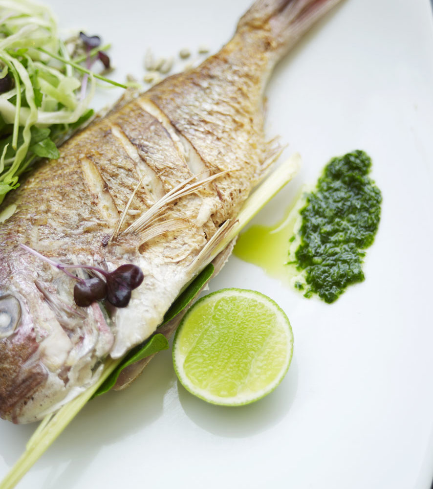 Steamed snapper with macadamia pesto