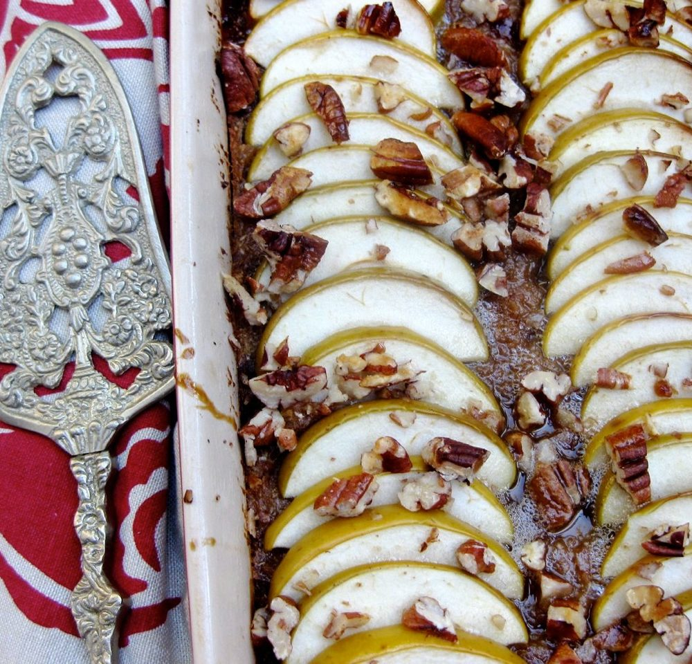 Paleo pecan, apple and coconut slice