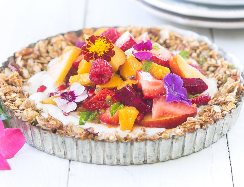 Brookfarm granola fruit flan