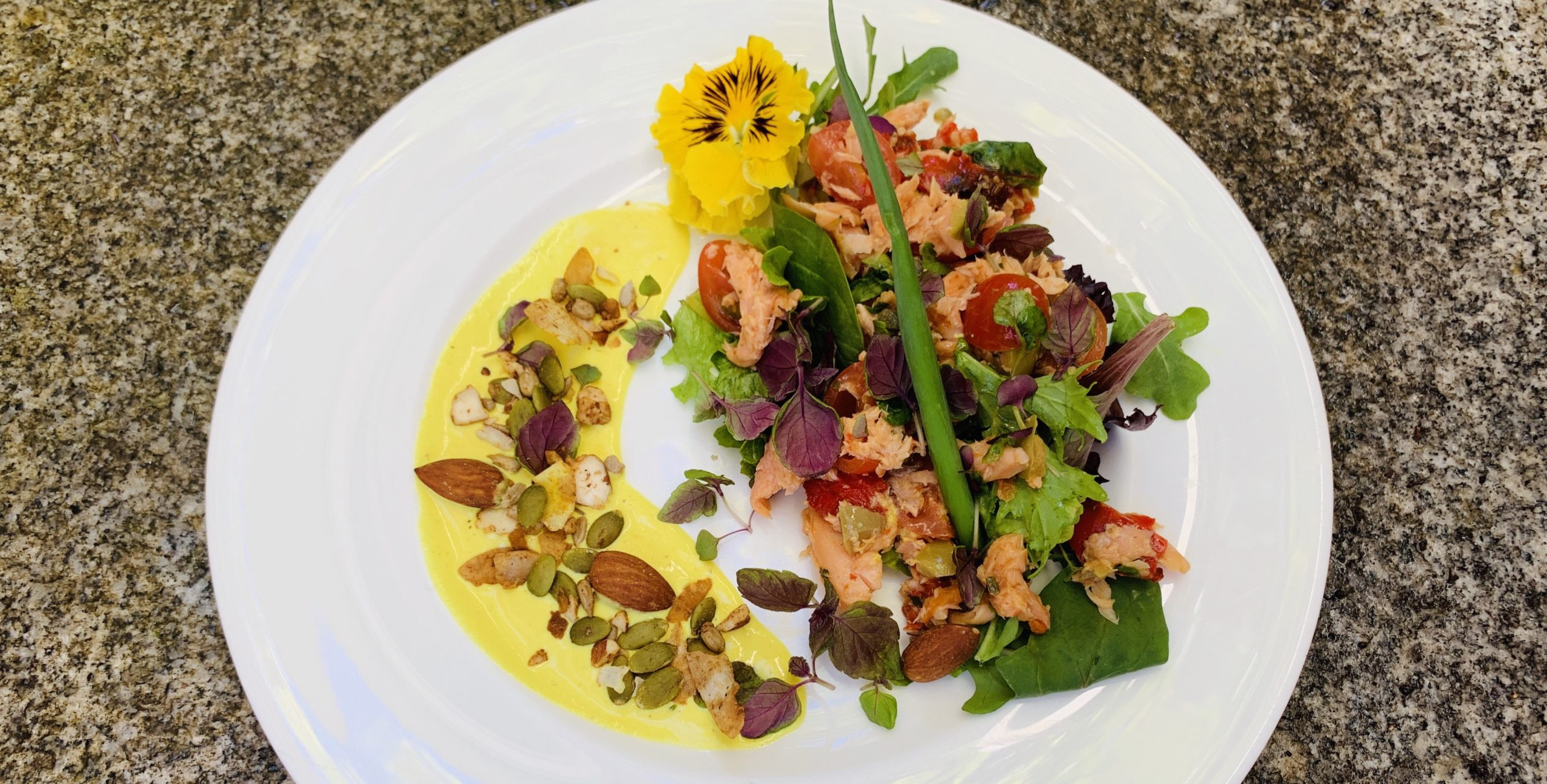 HW smoked trout salad and seeds crop