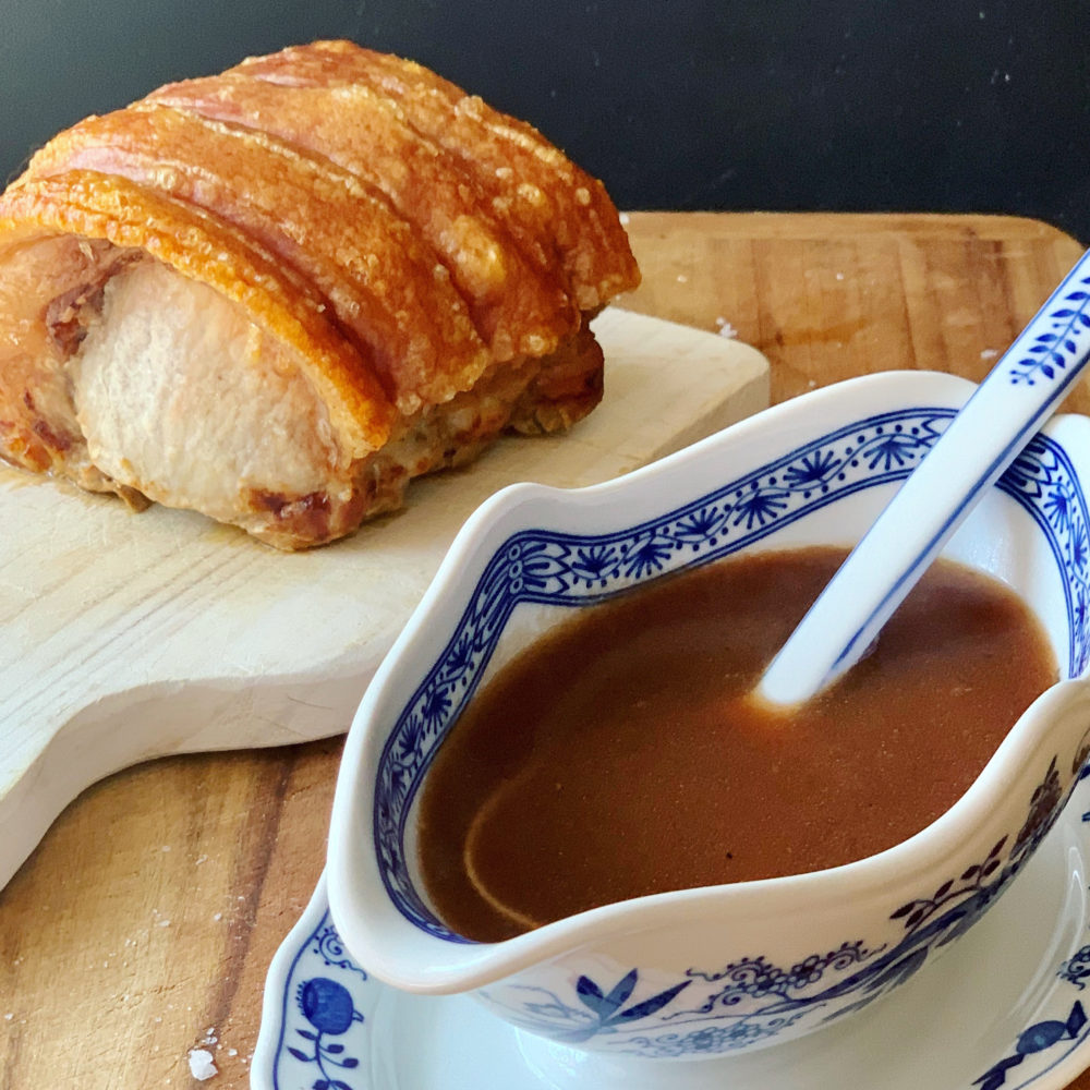 Roast pork with gravy